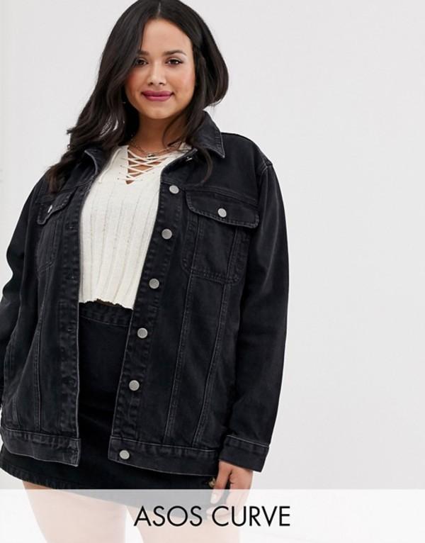エイソス レディース ジャケット・ブルゾン アウター ASOS DESIGN Curve denim girlfriend jacket in washed black Black