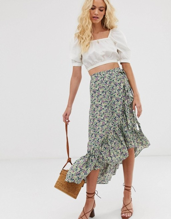 アンドアザーストーリーズ レディース スカート ボトムス & Other Stories ruffled midi wrap skirt in green floral print Floral print