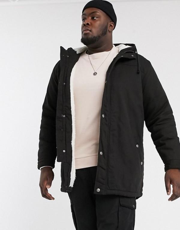オンリーアンドサンズ メンズ コート アウター Only & Sons parka with fleece lined hood in black Black