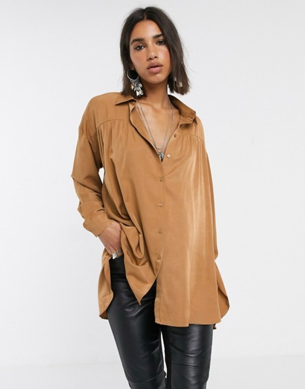 オブジェクト レディース シャツ トップス Object oversized shirt with pleat detail in camel Camel