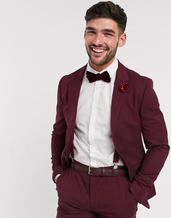 エイソス メンズ ジャケット・ブルゾン アウター ASOS DESIGN wedding skinny suit jacket in burgundy Burgundy