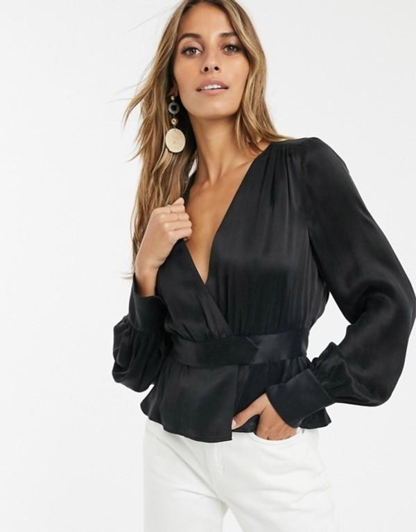 アンドアザーストーリーズ レディース シャツ トップス & Other Stories satin wrap blouse in black Black