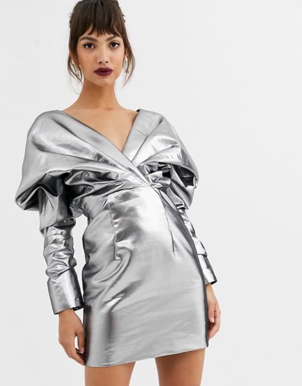 エイソス レディース ワンピース トップス ASOS EDITION extreme shoulder metallic cocktail dress Silver