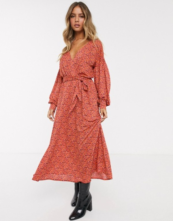 エイソス レディース ワンピース トップス ASOS DESIGN wrap midi dress with belt in red ditsy Red ditsy