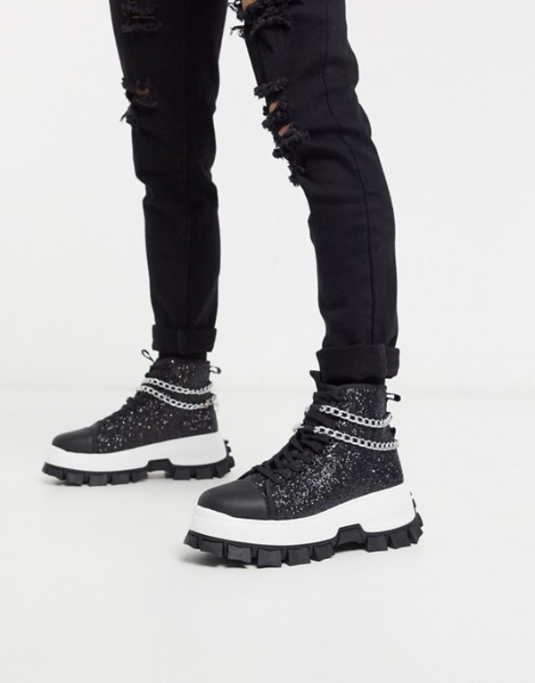 エイソス メンズ スニーカー シューズ ASOS EDITION high top sneakers in black glitter with chain detail and cleated sole Black
