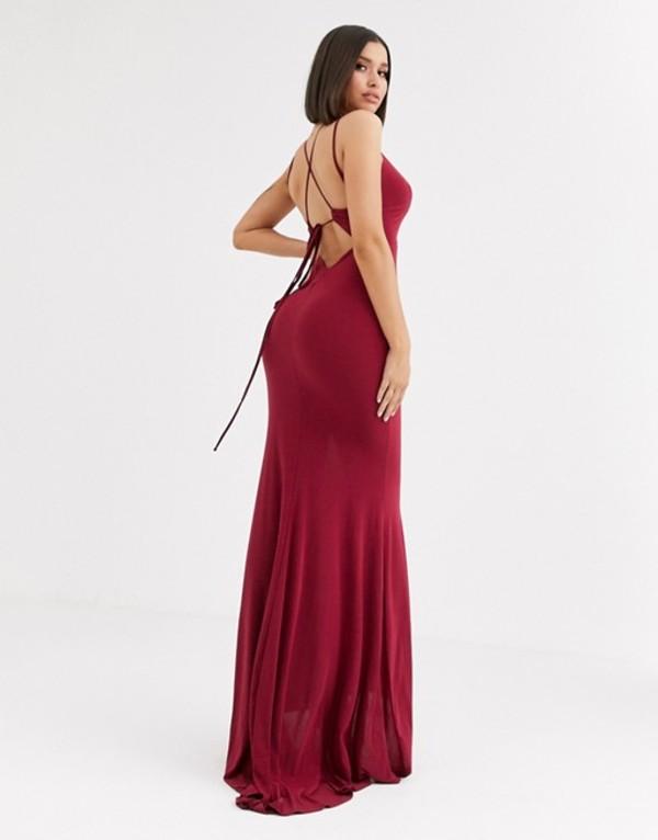クラブエル ロンドン レディース ワンピース トップス Club L London plunge front strappy back maxi dress in raspberry Raspberry