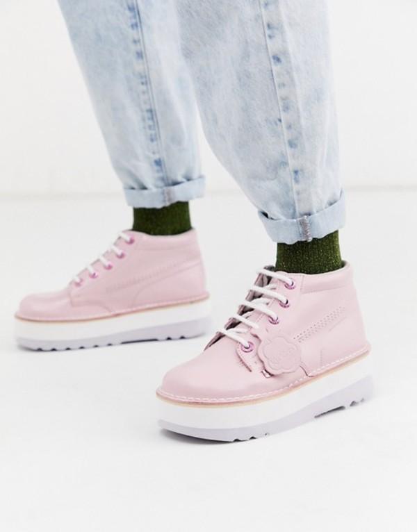 キッカーズ レディース ブーツ・レインブーツ シューズ Kickers high stack leather boots in pink Leather pink