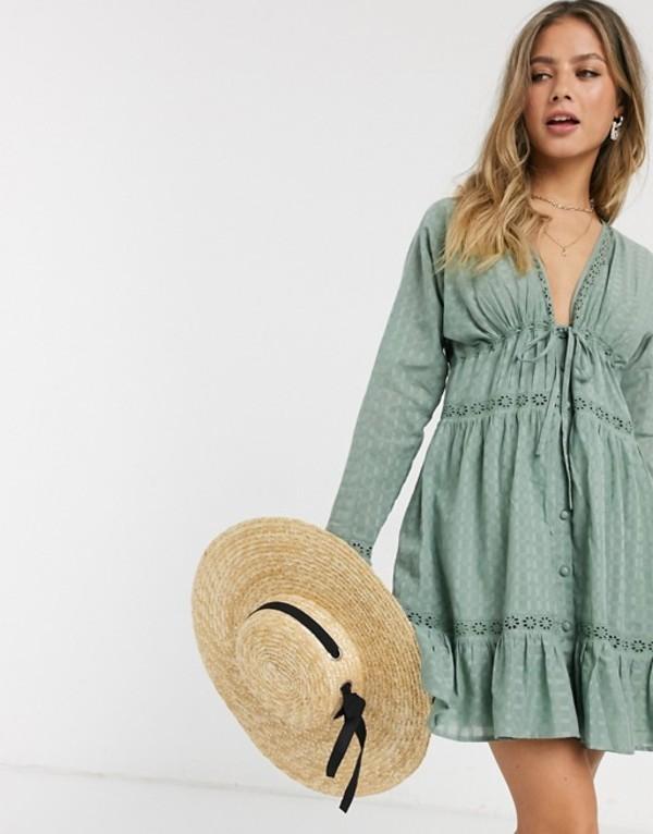 エイソス レディース ワンピース トップス ASOS DESIGN lace insert button through mini smock dress in khaki Khaki