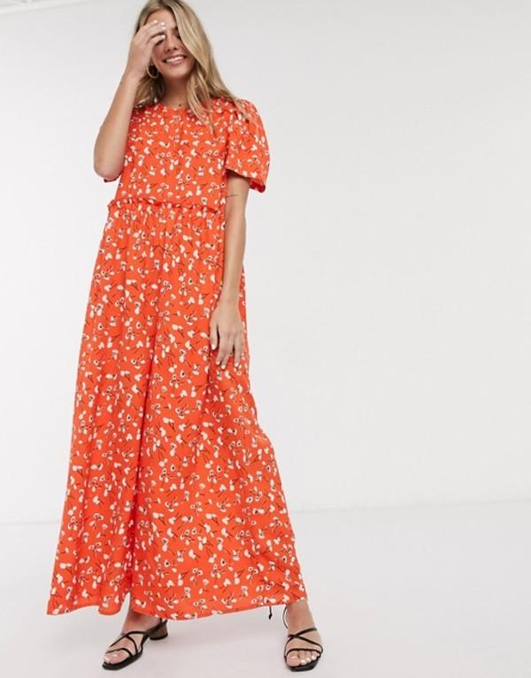 エイソス レディース ワンピース トップス ASOS DESIGN tiered smock jumpsuit in red floral print Red floral
