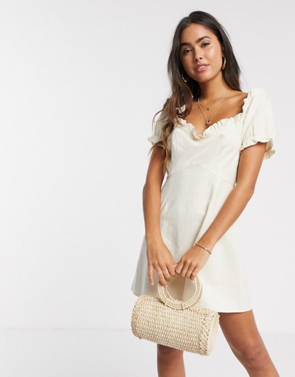ヴェロモーダ レディース ワンピース トップス Vero Moda milkmaid mini dress in beige Eggnog