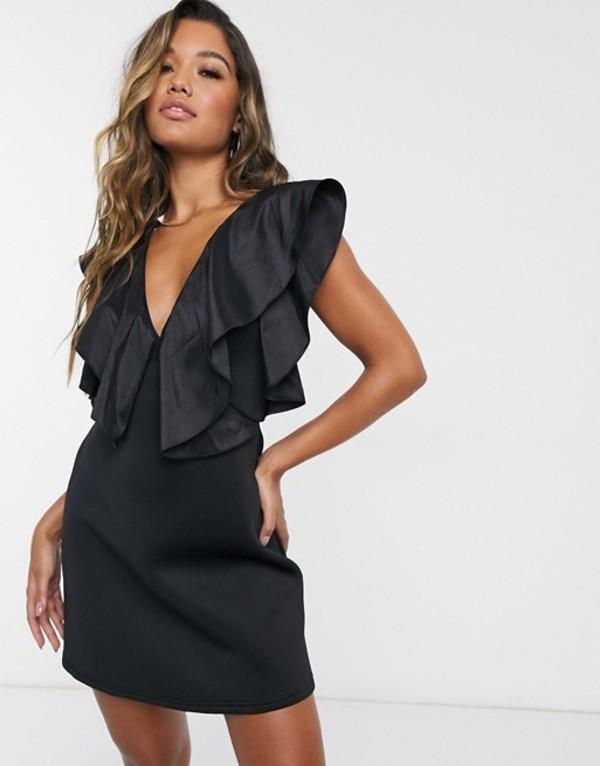 エイソス レディース ワンピース トップス ASOS DESIGN strappy taffeta ruffle neckline mini dress Black