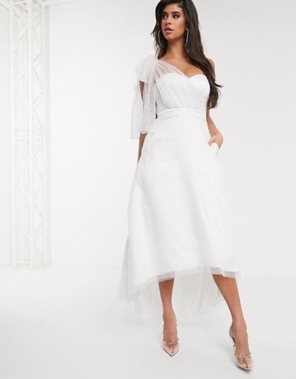 バリアーノ レディース ワンピース トップス Bariano bow one shoulder full skirt maxi dress in white silver ombre White silver ombre
