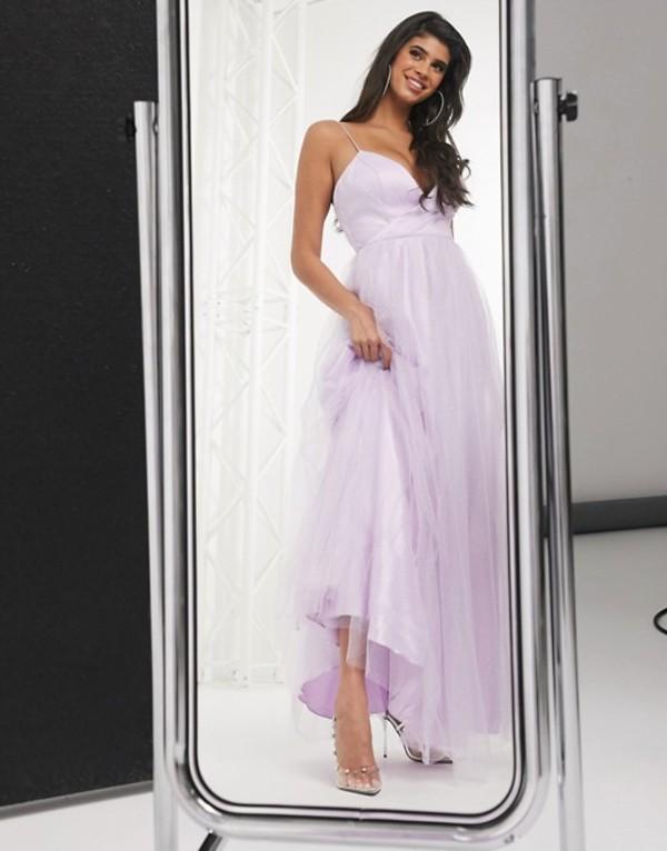 バリアーノ レディース ワンピース トップス Bariano cami strap cross over full skirt maxi dress in lilac Lilac/lavender