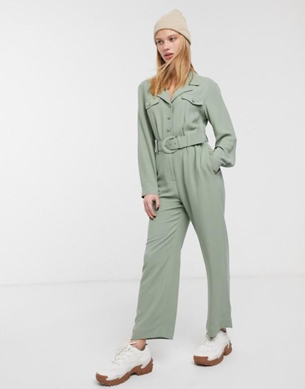 アンドアザーストーリーズ レディース ワンピース トップス & Other Stories pocket detail long sleeve jumpsuit in khaki Green