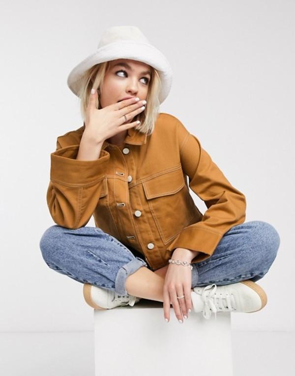 モンキ レディース ジャケット・ブルゾン アウター Monki boxy worker jacket Camel