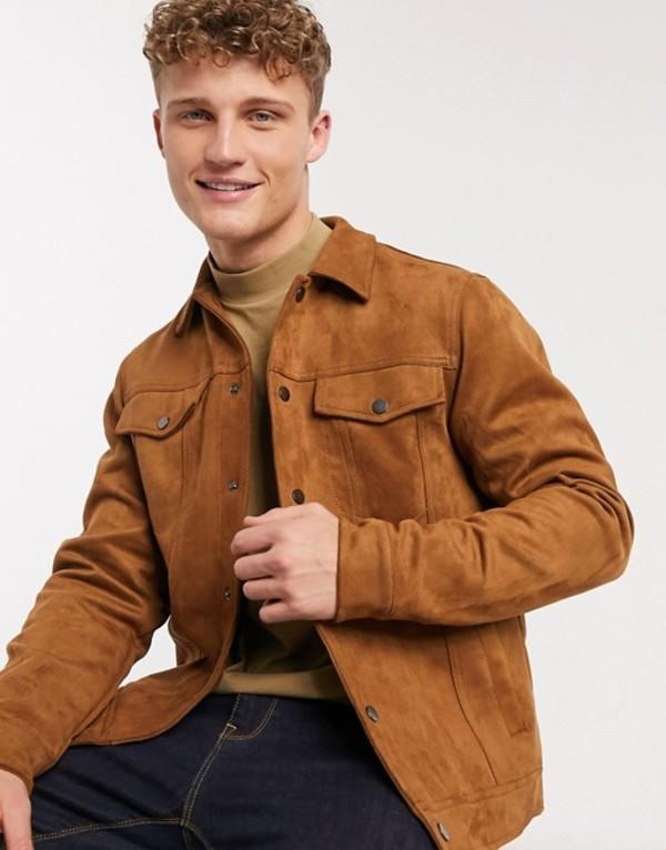 ニュールック メンズ ジャケット・ブルゾン アウター New Look suedette trucker jacket in tan Tan