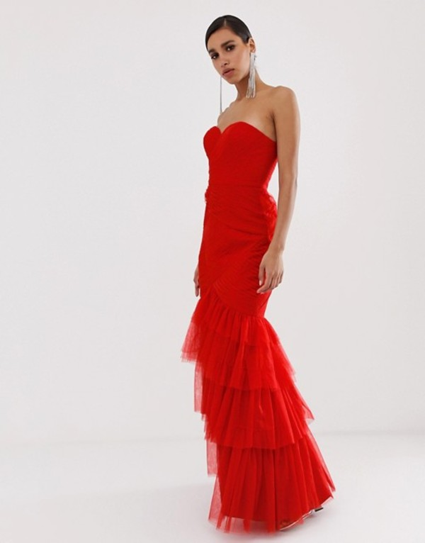 バリアーノ レディース ワンピース トップス Bariano tiered tulle sweetheart bandeau maxi dress in red Red