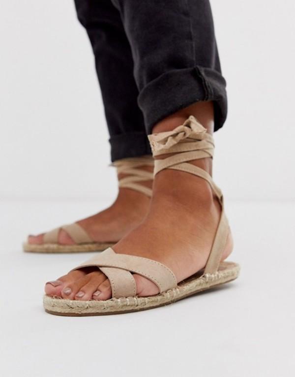 エイソス レディース サンダル シューズ ASOS DESIGN Jala espadrille flat sandals in beige Taupe