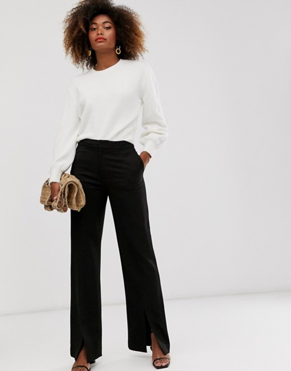 アンドアザーストーリーズ レディース カジュアルパンツ ボトムス & Other Stories tailored pants with front slit in black Black