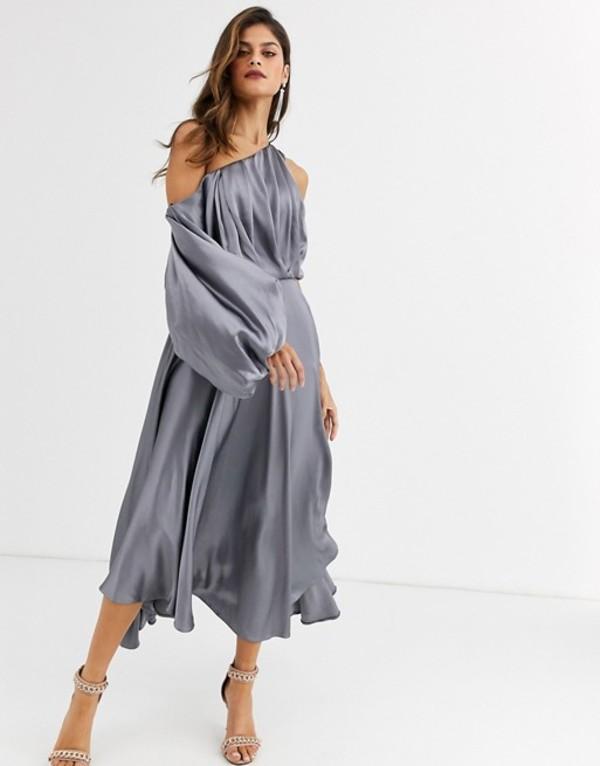 エイソス レディース ワンピース トップス ASOS EDITION blouson one shoulder dress in satin Steel gray