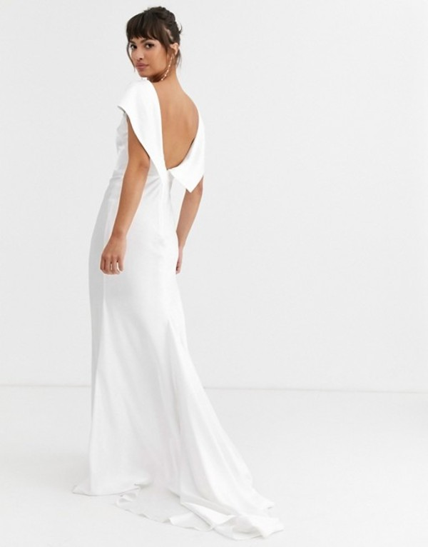 エイソス レディース ワンピース トップス ASOS EDITION off shoulder maxi wedding dress with drape back detail Ivory