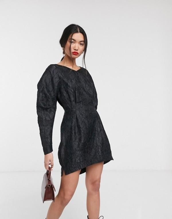 アンドアザーストーリーズ レディース ワンピース トップス & Other Stories jacquard bold sleeve mini dress in black Black