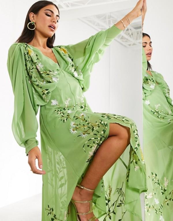 エイソス レディース ワンピース トップス ASOS EDITION embroidered ruched batwing midi dress in green Sage green