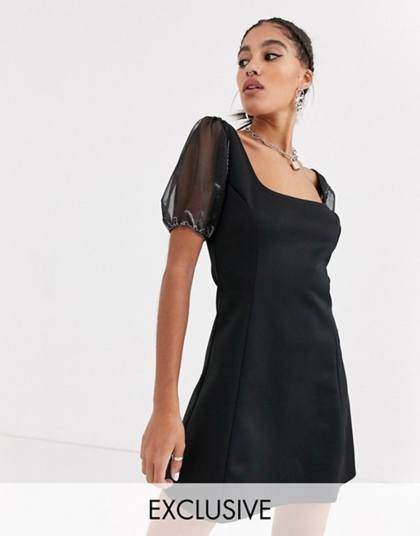 アナザーリーズン レディース ワンピース トップス Another Reason square neck mini dress with organza puff sleeves Black