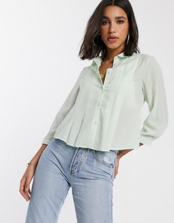 ワイエーエス レディース シャツ トップス Y.A.S boxy pleated shirt Clearly aqua