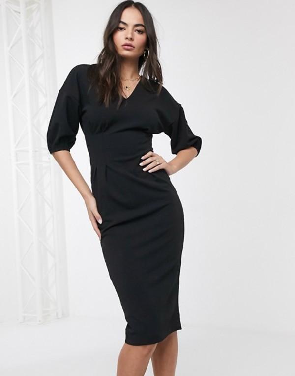 エイソス レディース ワンピース トップス ASOS DESIGN midi bodycon dress in black Black