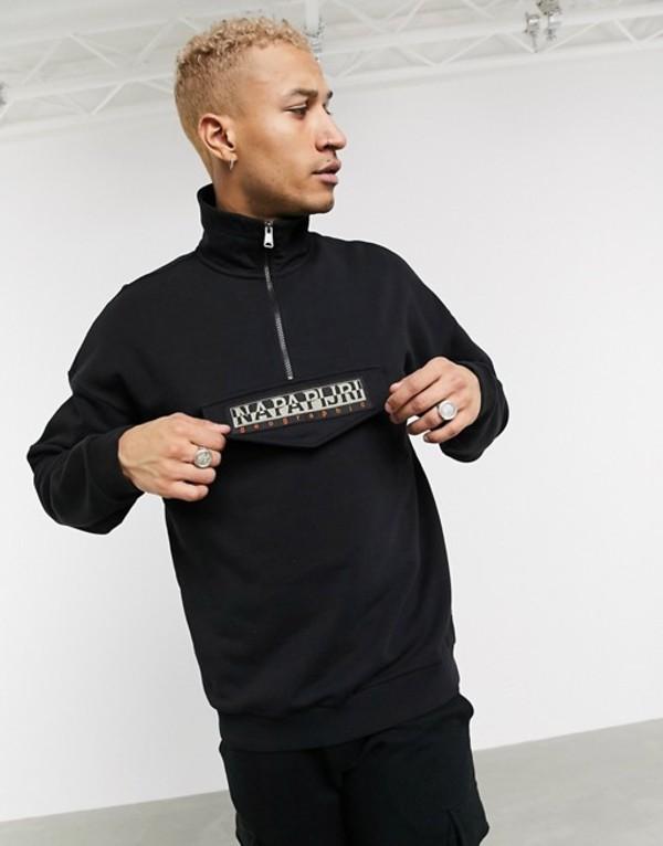 ナパピリ メンズ パーカー・スウェット アウター Napapijri Base half zip sweatshirt in black Black