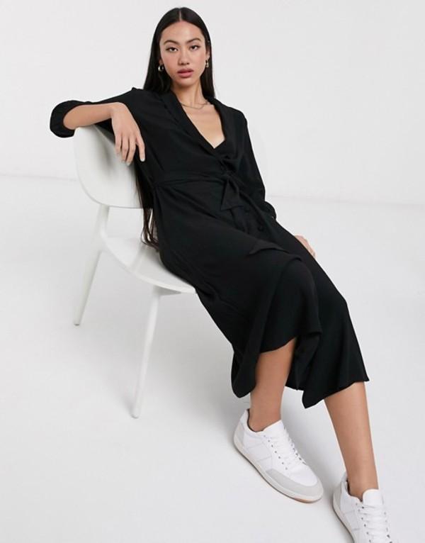 セレクティッド レディース ワンピース トップス Selected Marina 3/4 sleeve midi shirt dress in black Black