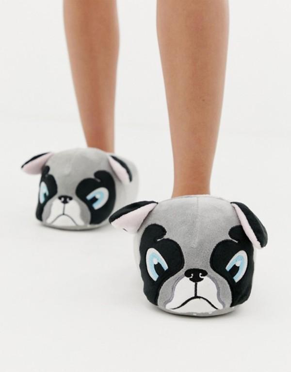 ニュールック レディース サンダル シューズ New Look slippers with frenchie pint Gray