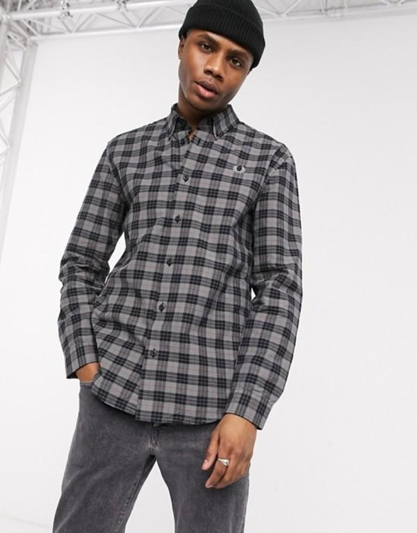 フレッドペリー メンズ シャツ トップス Fred Perry button down collar check shirt in gray Charcoal