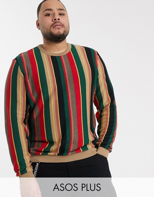 エイソス メンズ ニット・セーター アウター ASOS DESIGN Plus sweater in textured vertical stripe in green and red Multi