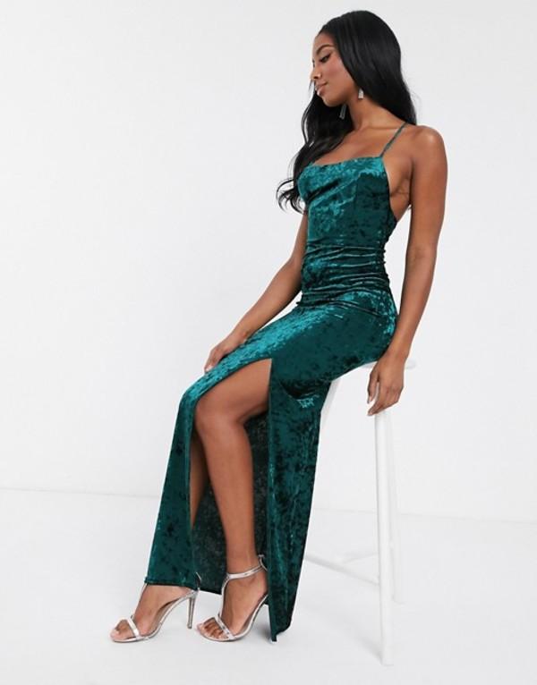 クラブエル ロンドン レディース ワンピース トップス Club L London velvet square neck maxi dress with thigh split in green Green