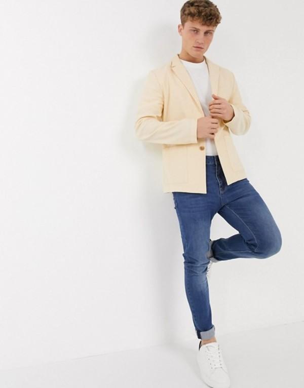 エイソス メンズ ジャケット・ブルゾン アウター ASOS DESIGN unlined casual linen skinny blazer in stone Stone