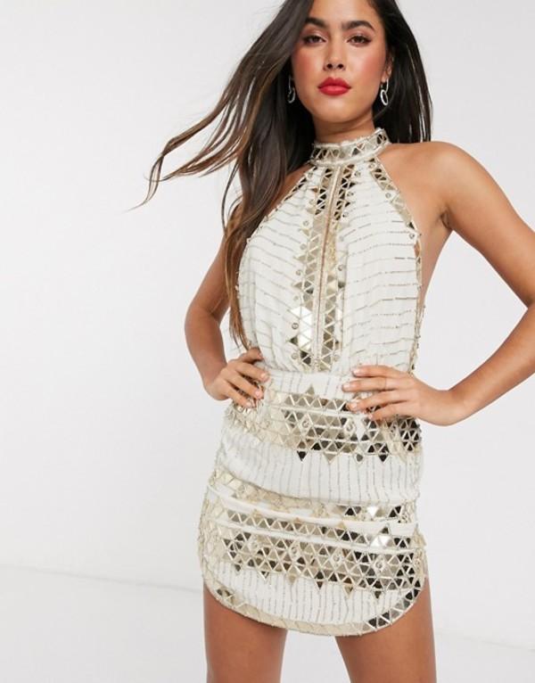 エイソス レディース ワンピース トップス ASOS DESIGN high neck mini dress with mirror embellishment in cream Cream