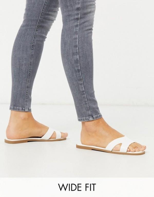 トリュフコレクション レディース サンダル シューズ Truffle Collection wide fit square toe flat slider in white White croc