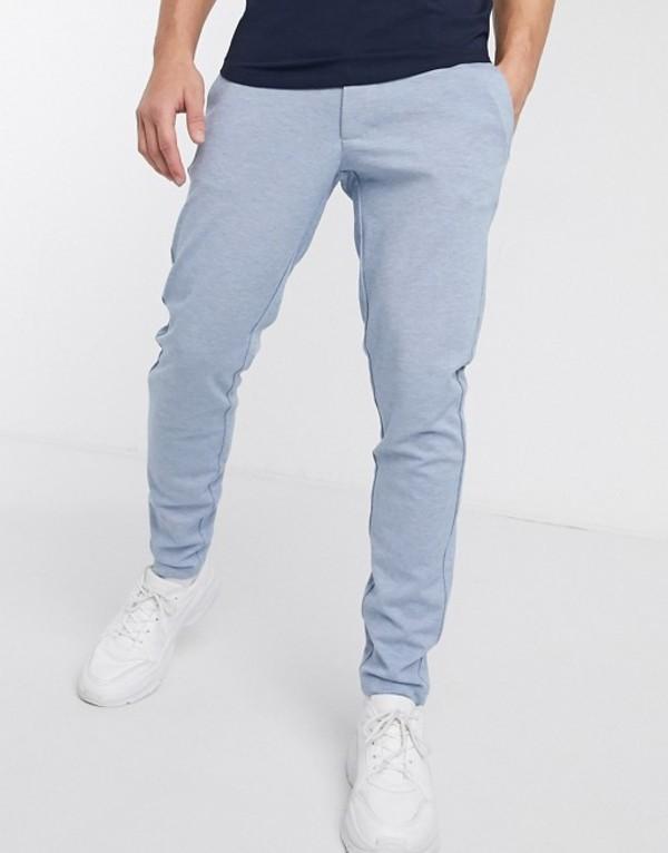 オンリーアンドサンズ メンズ カジュアルパンツ ボトムス Only & Sons slim tapered fit pants in light blue Dark blue