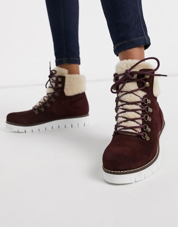 ヴェロモーダ レディース ブーツ・レインブーツ シューズ Vero Moda leather hiking boots Zinfandel