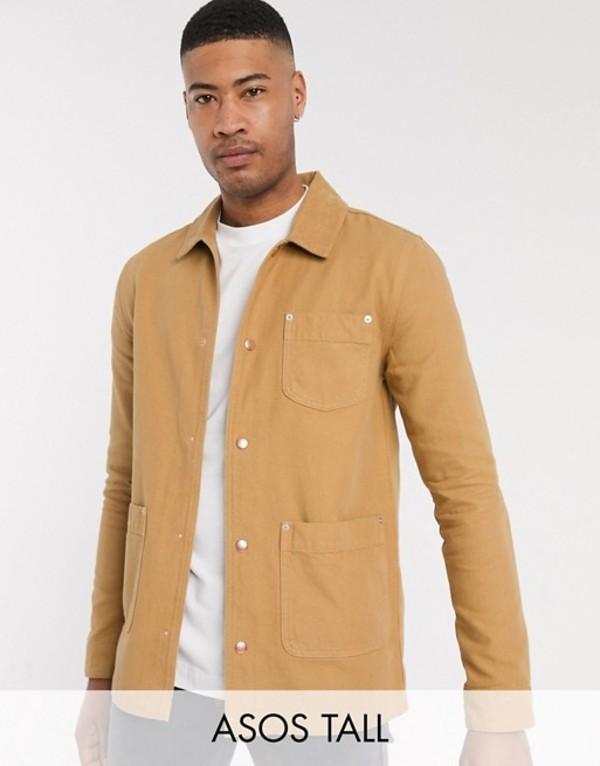 エイソス メンズ ジャケット・ブルゾン アウター ASOS DESIGN Tall denim jacket in tan Tan