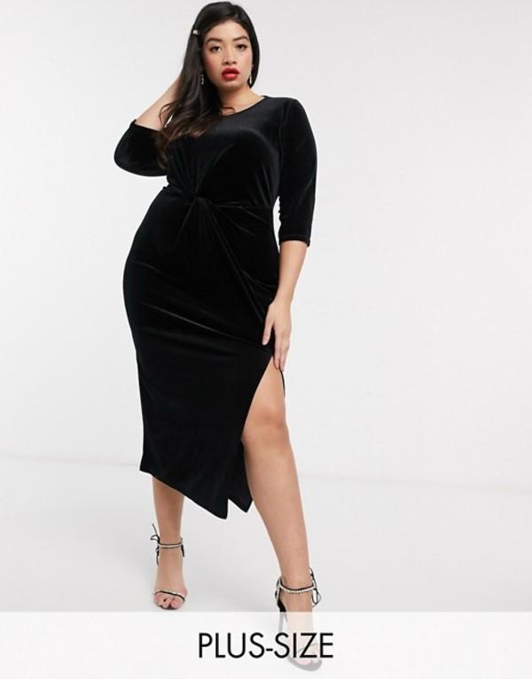 シンプリー ビー レディース ワンピース トップス Simply Be twist front velour midi dress in black Black