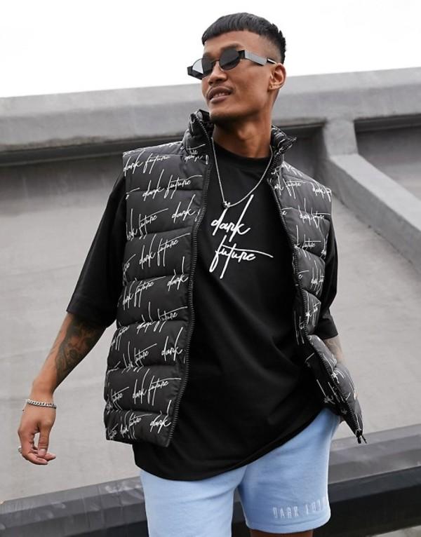 エイソス メンズ タンクトップ トップス ASOS DESIGN puffer vest with dark future logo in black Black