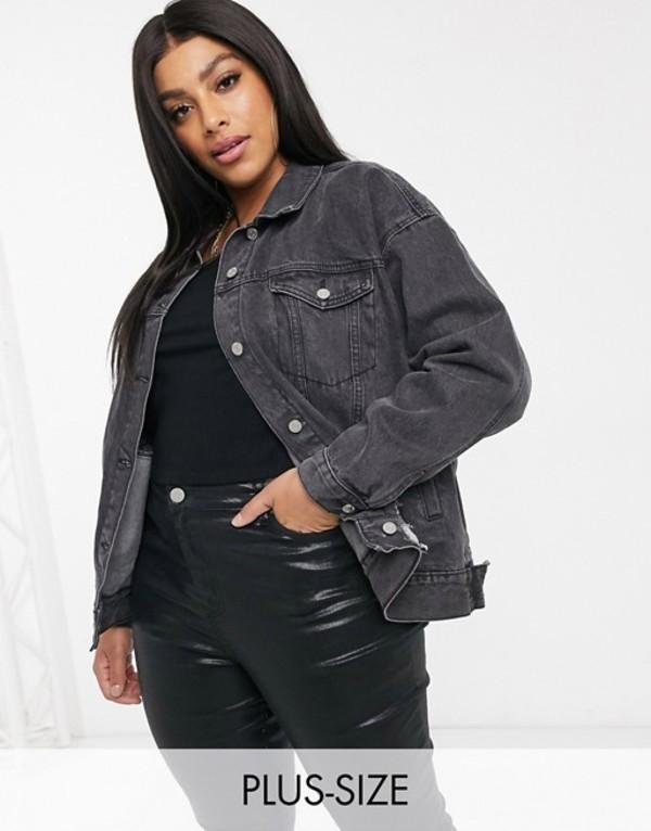 ミスガイデッド レディース ジャケット・ブルゾン アウター Missguided Plus oversized denim jacket with rip detail in washed black Black