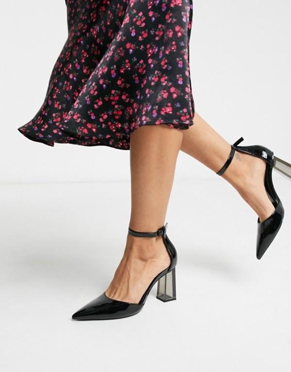 ベルシュカ レディース ヒール シューズ Bershka closed toe shoe with transparent heel in black Black