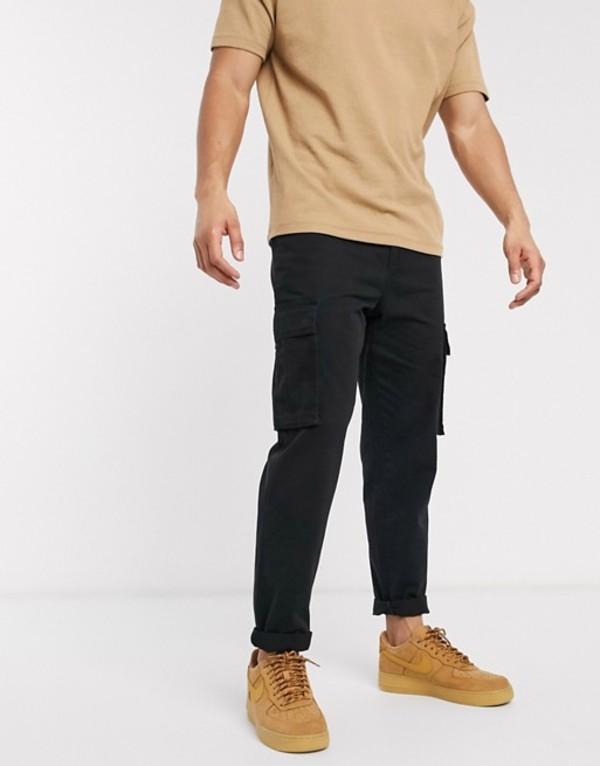 ニュールック メンズ カジュアルパンツ ボトムス New Look cargo pants in black Black