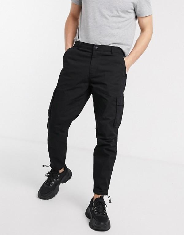 メニス メンズ カジュアルパンツ ボトムス Mennace cargo utility pants in black Black
