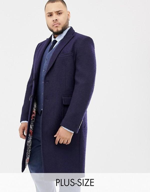 ジャンニ フェロー メンズ コート アウター Gianni Feraud Plus premium navy textured boucle wool blend overcoat Navy