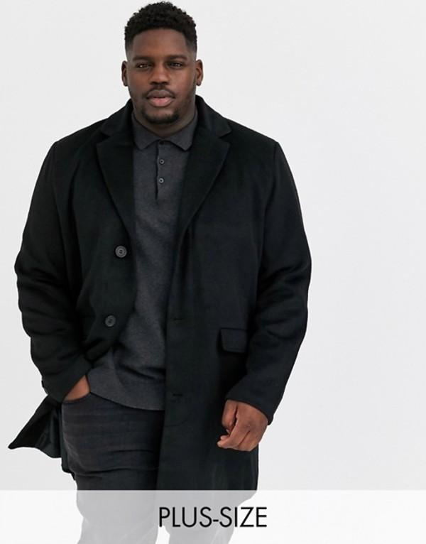 アナザーインフルエンス メンズ コート アウター Another Influence Plus wool over coat in black Black